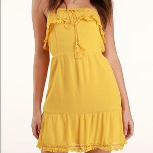 Lulu's | Yellow Strapless Crochet Mini Dress
